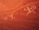 Warrior petroglyphs at Defiance House, Lake Powell, Utah