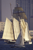 Sailing with the tall ships in San Diego Bay, California
