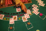 Dealing blackjack at Main Street Station Casino, Las Vegas, Nevada