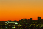 Chase Field (Arizona Diamondbacks baseball), and downtown skyline at twilight, Phoenix, Arizona