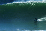 Surfing the big water on the San Mateo Coast, California