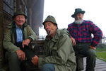 Swiss Army veterans and friends, enjoying coffee at the Lobhorn Hut, above Murren in the Bernese Oberland, Switzerland