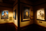 Painted portraits of aviation pioneers Yeager, Lindbergh, and Doolittle, at the San Diego Aerospace Museum, San Diego, California