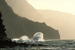 Waves breaking on the Na Pali Coast, from Kee Beach, Kauai, Hawaii