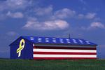 Barn with a patriotic motif, Highway 41, Sierra Nevada foothills, California