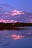 Mountain bikers at Reflection Pond, with Mt. McKinley, 20,320' at sunset, Denali National Park, Alaska