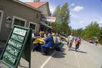Dining alfresco outside The Roadhouse, Talkeetna, Alaska