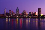 The skyline of Montreal in pre-dawn light, from Peel Basin, Canada