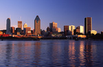 The skyline of Montreal in morning light, from Peel Basin, Canada