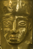Golden ceremonial mask on display in Archaeological Museum of Father Gustavo Le Paige, San Pedro de Atacama, Chile