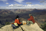 A hiker's picnic on Powell Point, South Rim of Grand Canyon National Park, Arizona