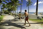 Surfboards on the sidewalks, a Waikiki tradition, Honolulu, Oahu