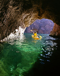 Kayaking in Emerald Cave, on the Arizona side of the Colorado River in Black Canyon