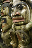 Totem pole faces at Capilano, Vancouver, British Columbia