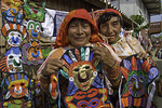 Two Kuna sisters show their hand sown molas and masks for sale, San Blas islands, (Kuna Yala), Panama