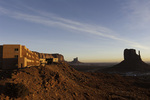 Sunrise on the Mittens and the View Hotel, Monument Valley, Arizona