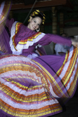 A Mexican folkloric dancer swirls in La Paz, Baja California Sur, Mexico