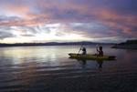 A couple kayaks at sunset on Lake Mohave, Colorado River, Lake Mead National Recreation Area, Arizona