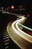 Traffic descending Lombard Street at night, Russian Hill, San Francisco, California