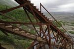 Steps arise alongside the huge mill structure of the Kennicott Mill, Wrangell-St. Elias National Park, Alaska