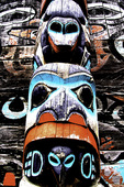 Detail of a totem pole carving by Tlingit peoples, Fort William H. Seward, Haines, Alaska