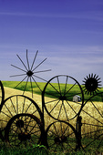 A tractor wheel fence on the Dahmen Farm, Uniontown, Palouse region of Eastern Washington