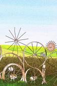 A tractor wheel fence on the Dahmen Farm, Uniontown, Palouse, Eastern Washington