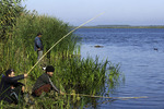 Fisherman use homemade poles to fish the Danube River Delta, Romania