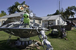 'Alien flying saucer' kitsch in a front yard along old Route 66 in Stroud, Oklahoma