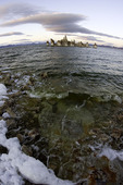 Tufa towers and waves on the shore of Mono Lake, California