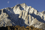 The moon sets over Lone Pine Peak, from the Alabama Hills, Owens Valley, California
