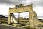 A store facade survives on the main street of the ghost town of Rhyolite, Nevada