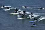 Surfing Cal's Break, Santa Cruz, California