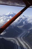 K2 Aviation flies towards Mt. McKinley over glaciers in Denali National Park, Alaska