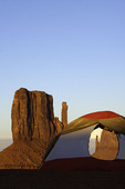 Camping with view of the Mittens at Monument Valley, Arizon