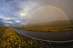 Summer rainbow on highway to Great Sand Dunes National Park, Colorado