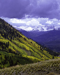 A view south across the Sneffels Range towards Telluride, from the Last Dollar Road, Colorado