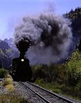 The Durango & Silverton train steams into Silverton in the San Juan Mountains of Colorado
