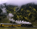 The Durango &amp; Silverton train departs Silverton in autumn, en route to Durango, Colorado