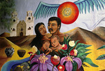 A mural depicting the Mission San Xavier adorns a wall in the Barrio Historico district of Tucson, Arizona