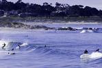 Tourists enjoy Asilomar State Beach, Monterey County, California