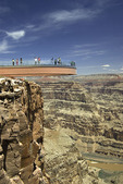 Tourists view Grand Canyon West from the Skywalk, Hualapai Reservation, Grand Canyon, Arizona