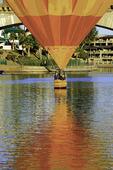 A hot air balloon does a 'splash and go' by the London Bridge, during the Havasu Balloon Fiesta, Lake Havasu City, Arizona