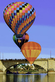 Hot air balloons over the London Bridge, during the Havasu Balloon Fiesta, Lake Havasu City, Arizona