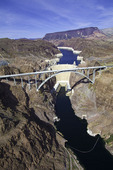 Pat Tillman Memorial Bridge & Hoover Dam, from above the Colorado River in Black Canyon, Nevada