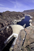 Hoover Dam from above, impounding Lake Mead