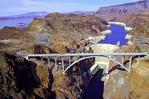Pat Tillman Memorial Bridge & Hoover Dam, from above the Colorado River in Black Canyon, Nevada