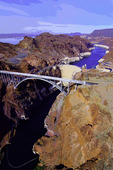 Hoover Dam and the Pat Tillman Memorial Bridge from above, Black Canyon, Nevada-Arizona