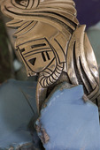 'Corn Maiden' bracelet design by Roy Talahaftewa, noted Hopi artist and silversmith, in his gallery in Second Mesa, Arizona