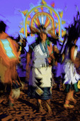 Hopi dancers at sunset, Hopi Nation, Arizona